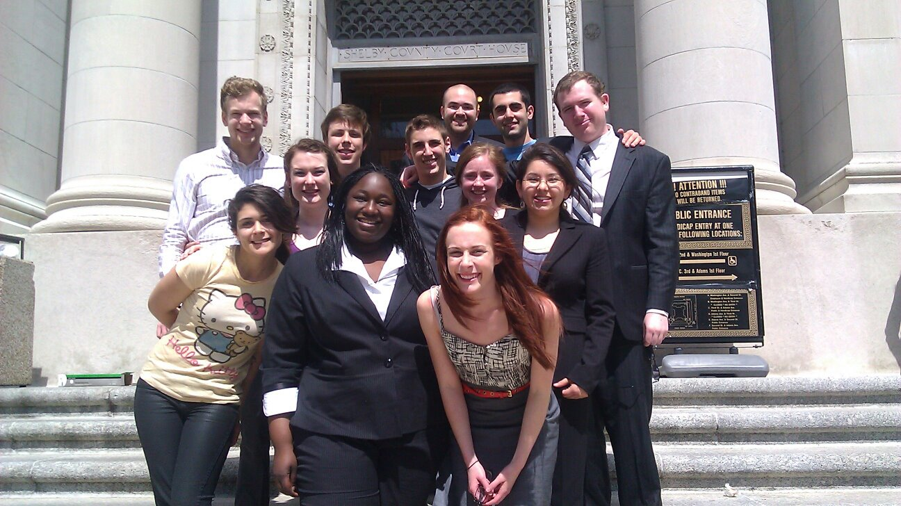 University of Portland Mock Trial Team at the Memphis Courthouse