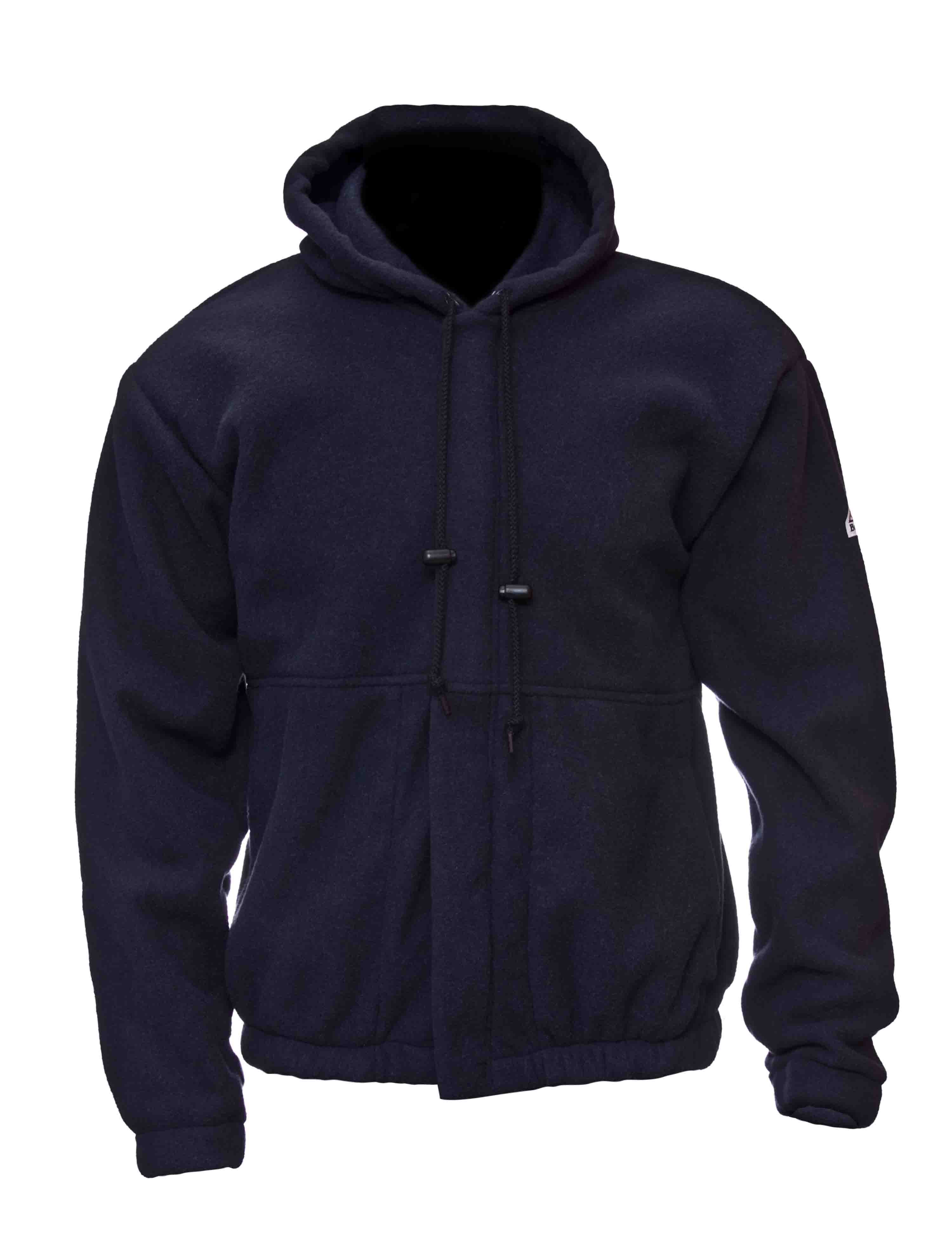 Bulwark Zip Front Hooded Fleece Sweatshirt SMH6 - These products are standouts from the most revolutionary flame resistant (FR) layering system on the market - a collaboration between Polartec, the leading manufacturer of performance fabrics, and Bulwark, the world's largest manufacturer of FR apparel. Bulwark's new line of Polartecr FR technical workwear garments focus on superior comfort, worker image, moisture management, and of course - flame resistance. Polartec's line of Polartecr FR fabrics are designed to work together, creating a layering system that has less bulk, better mobility, greater comfort, and more breathability. The Zip Front Hooded Fleece Sweatshirt SMH6, made of a different version of Polartecr Thermal FRr, provides a unique combination of flame resistant protection, warmth without weight, insulation, and breathability.