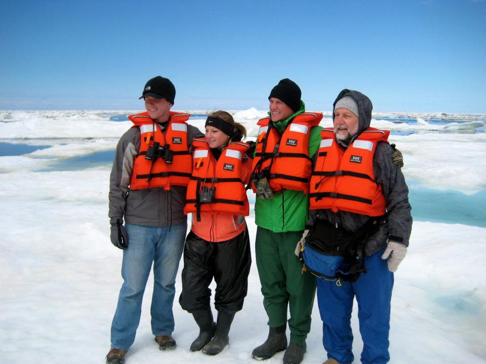 A group from Concordia University, Nebraska traveled to Canada to study arctic biology and are seen here on sea ice in Hudson Bay near the mouth of Churchill River. From left: John Chatwell, Ashlee Brown, Brad Schick and Prof. Joe Gubanyi.