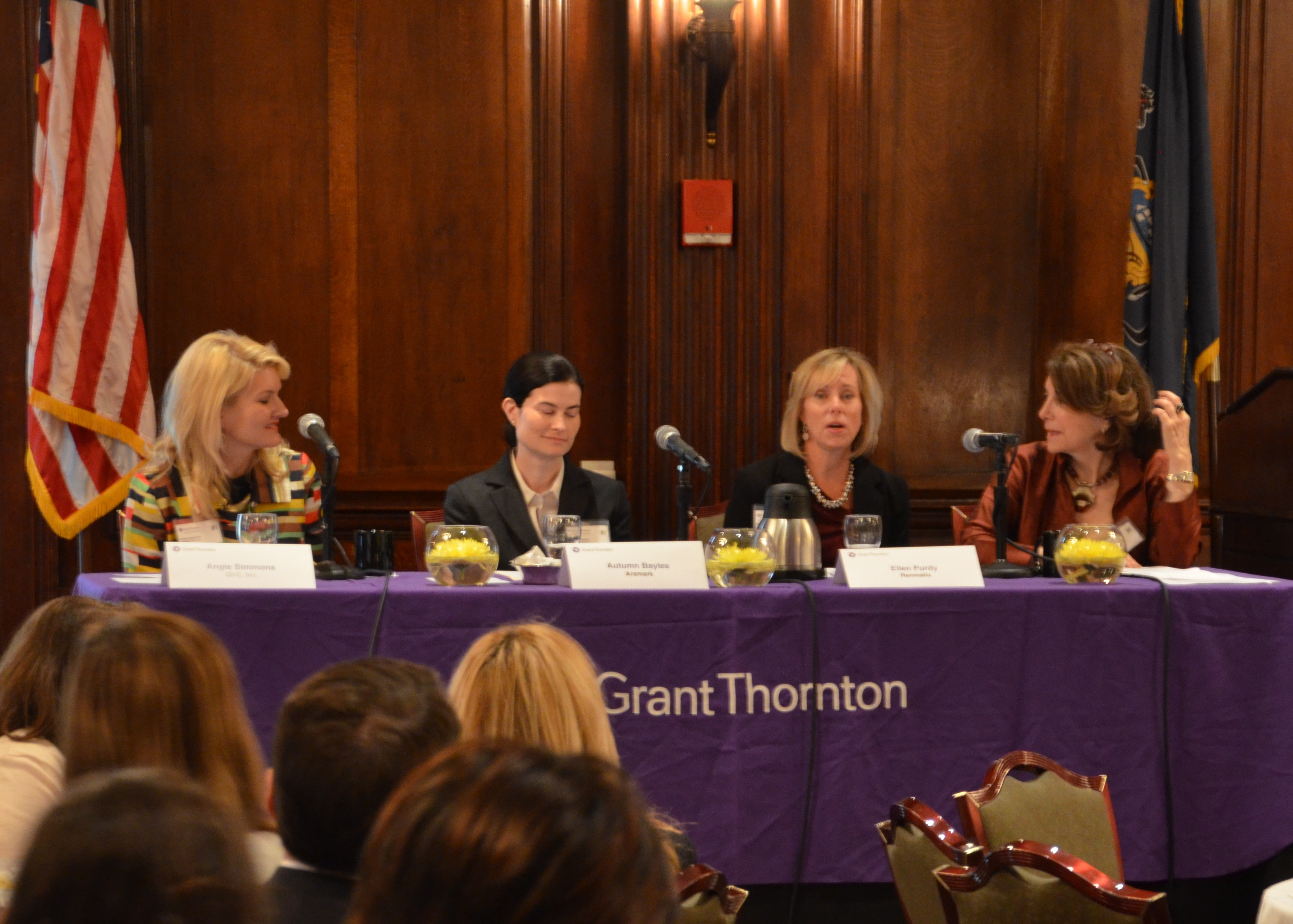 The panel of successful women business leaders discusses the role of women in the workplace.  Panelists from left to right: Angie Simmons, VP of Strategic Development for Aramark, Ellen Purdy, CFO of Renmatix, Autumn Bayles, Executive VP of Multichannel Platforms for QVC and moderator of the event, Marjorie Margolies, former member of the U.S. House of Representatives and current adjunct professor at the University of Pennsylvania.