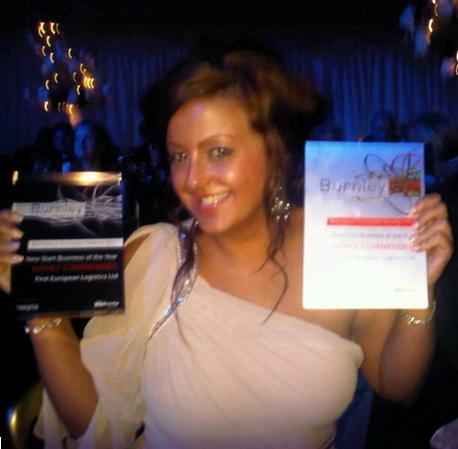 Jenna with the spoils form the Burnley Business Awards 2011.