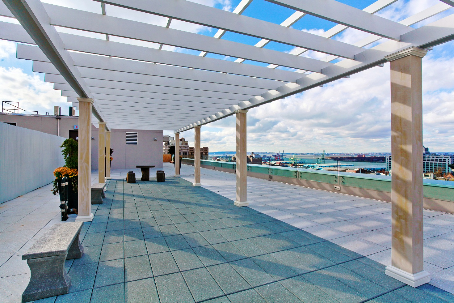The roof deck at 75 Clinton, the nine-story luxury building in Brooklyn Heights.