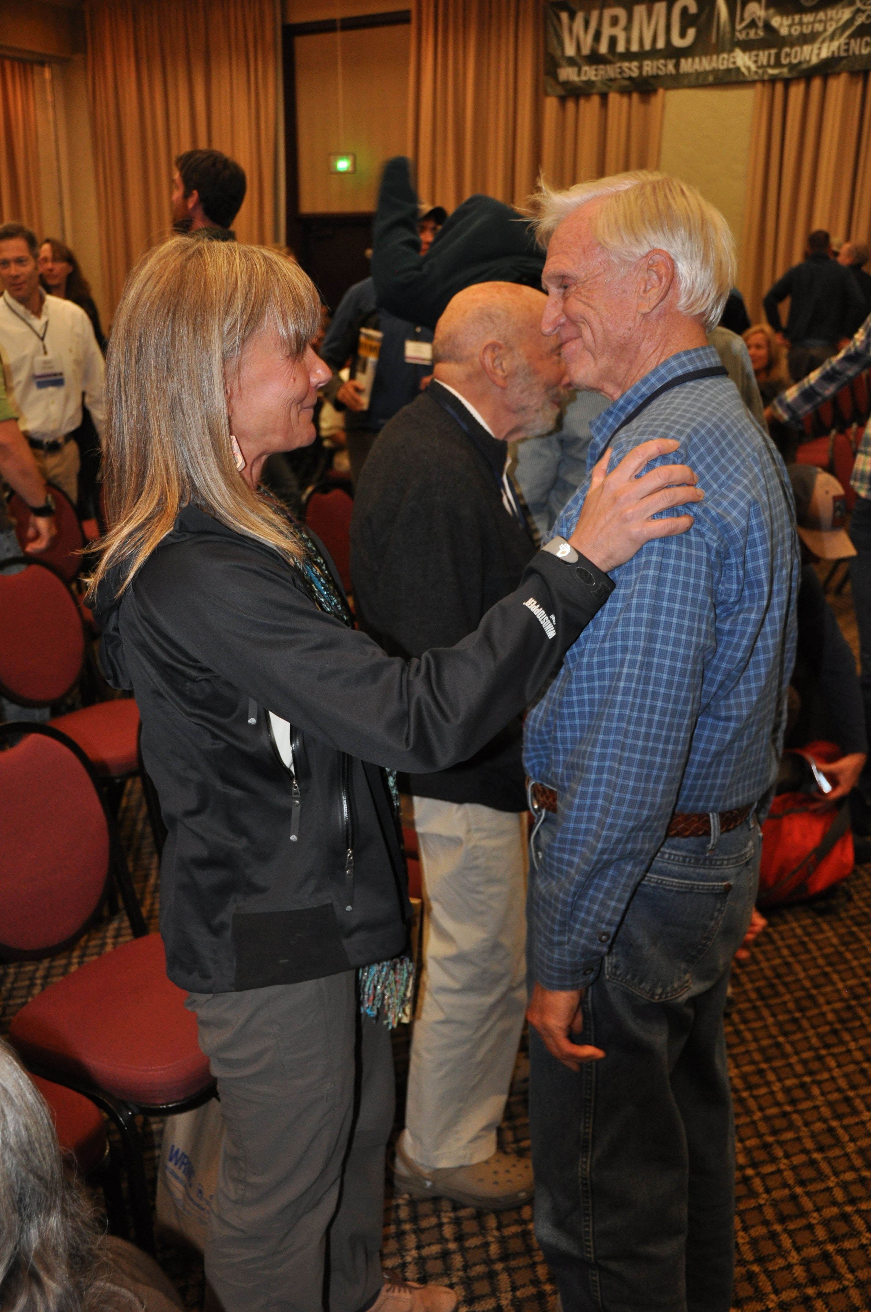 Deb Ajango takes a moment with the award&#39;s namesake, Reb Gregg.