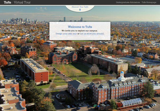 The Tufts University Virtual Tour zooms in on the academics, allowing users to either take a pre-planned tour or design their own by selecting classes they might take and activities they might do. 
