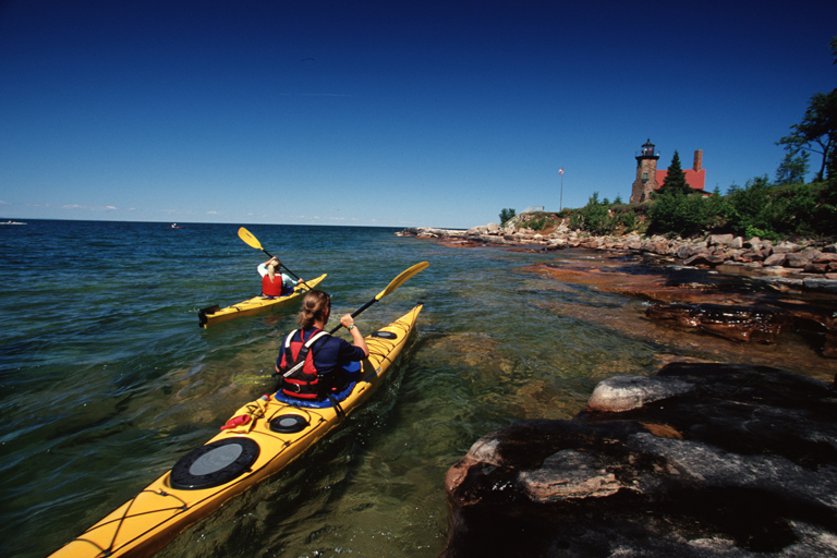 Kayaking in the Apostle Islands, near Madeline Island, photo courtesy RJ &amp; Linda MIller