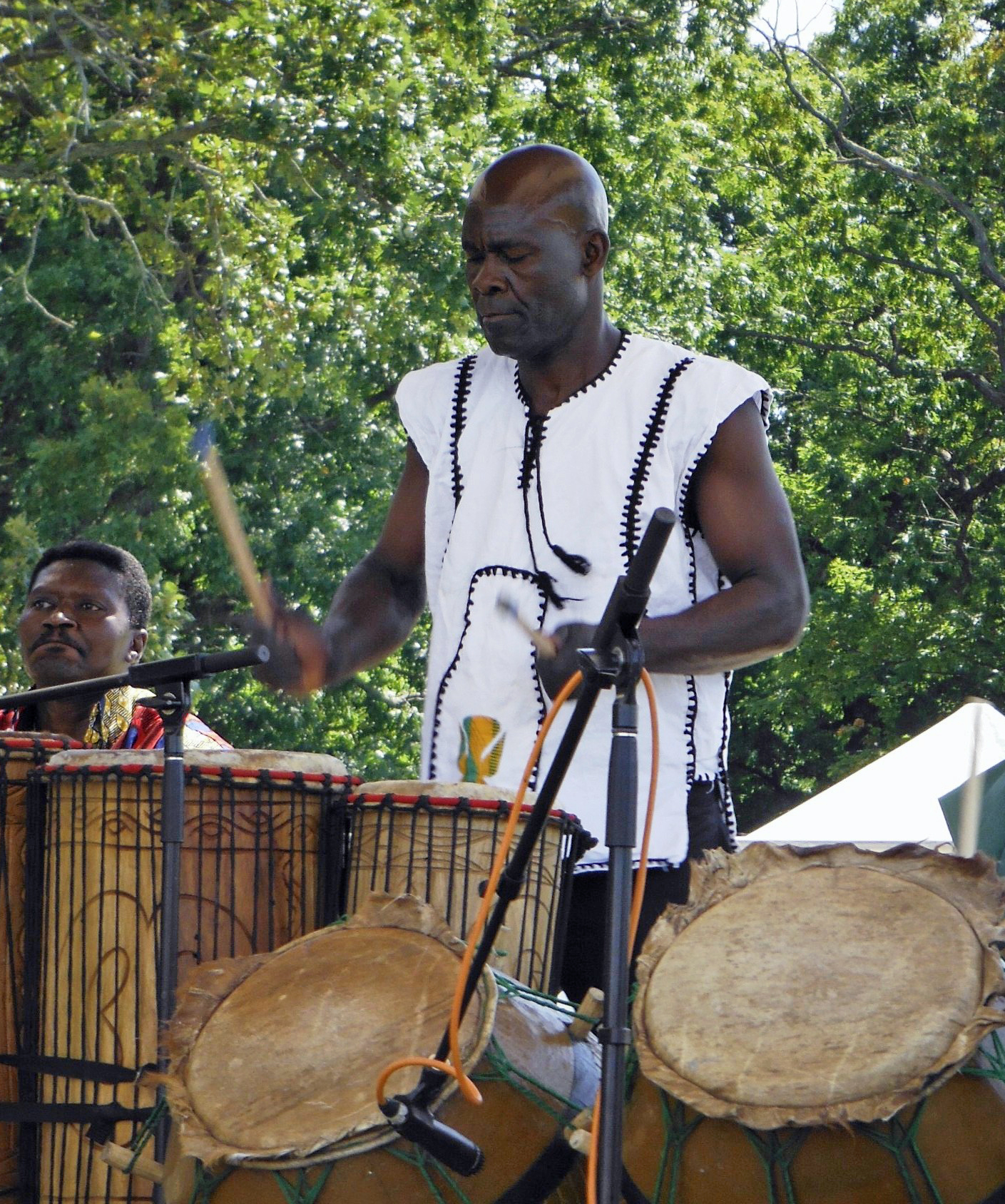 Koffi Zoe Dogbevi of Madison, originally from Lome, Togo, taught apprentices West African drumming.