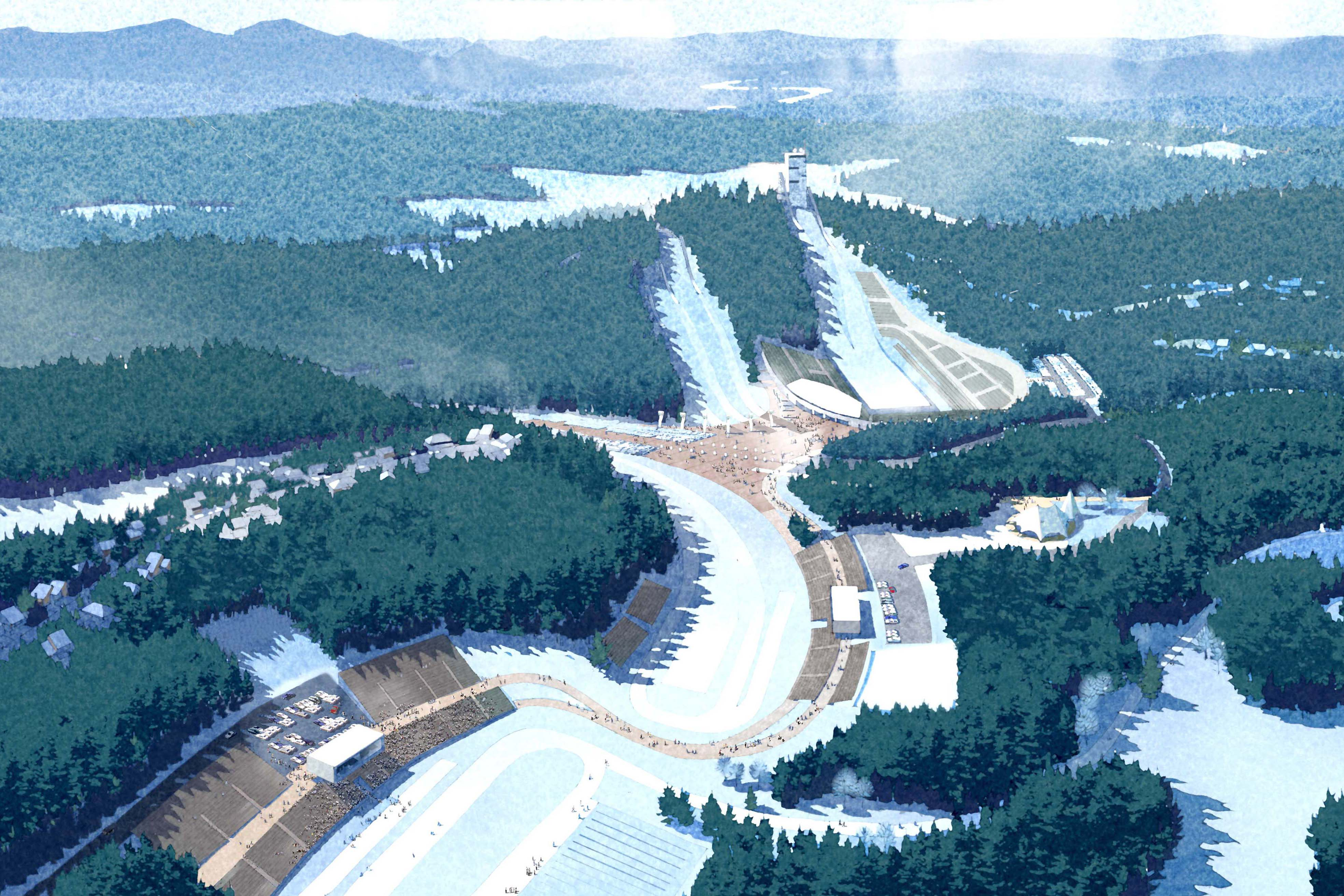 SWA Group's master plan for the 2018 Winter Olympics is a compact design accommodating more competitions in closer configuration for easier access of spectators. Image courtesy SWA Group.
