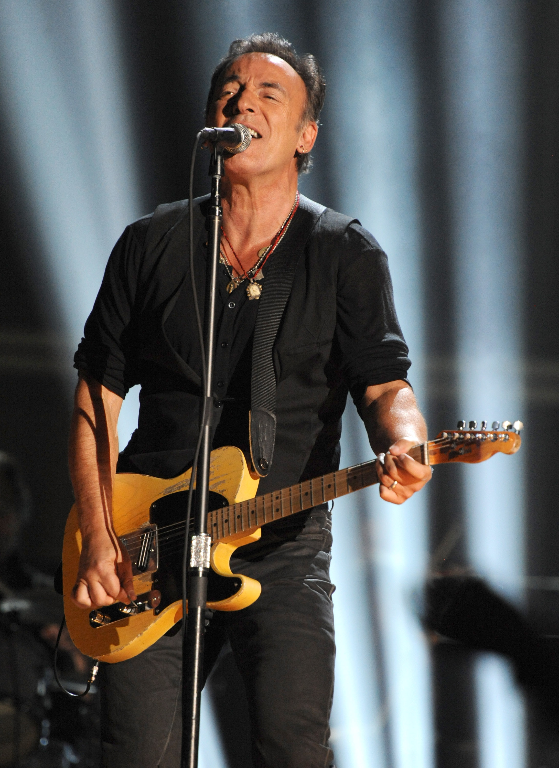 LOS ANGELES, CA - FEBRUARY 12: Bruce Springsteen performs onstage at The 54th Annual GRAMMY Awards at Staples Center on February 12, 2012 in Los Angeles, California. (Photo by Kevin Mazur/WireImage)
