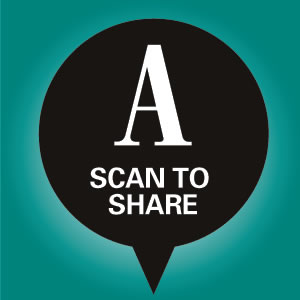 Readers scan the Ad Age branded icon instead of a QR code to share articles via their mobile phone.