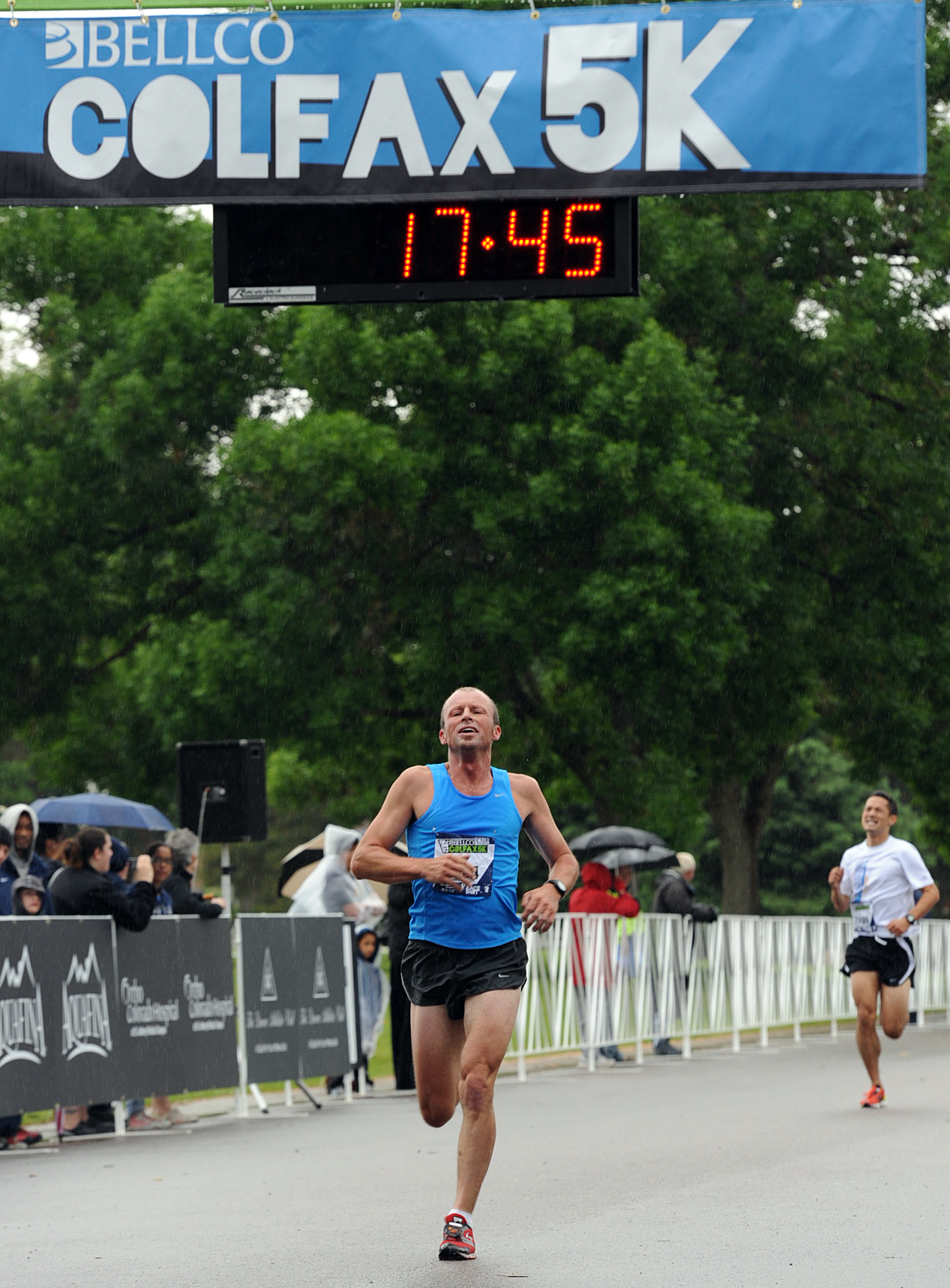 Edward Legrice crosses the finish line. Photo by David Merrill.