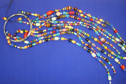 Hanging Sculpture, by Jane Chisholm, DLCAC Student, glass, wood and plastic beads