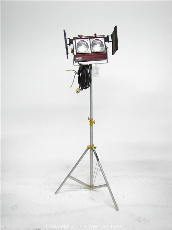 A variety of lighting equipment, such as this double spotlight, will be sold.