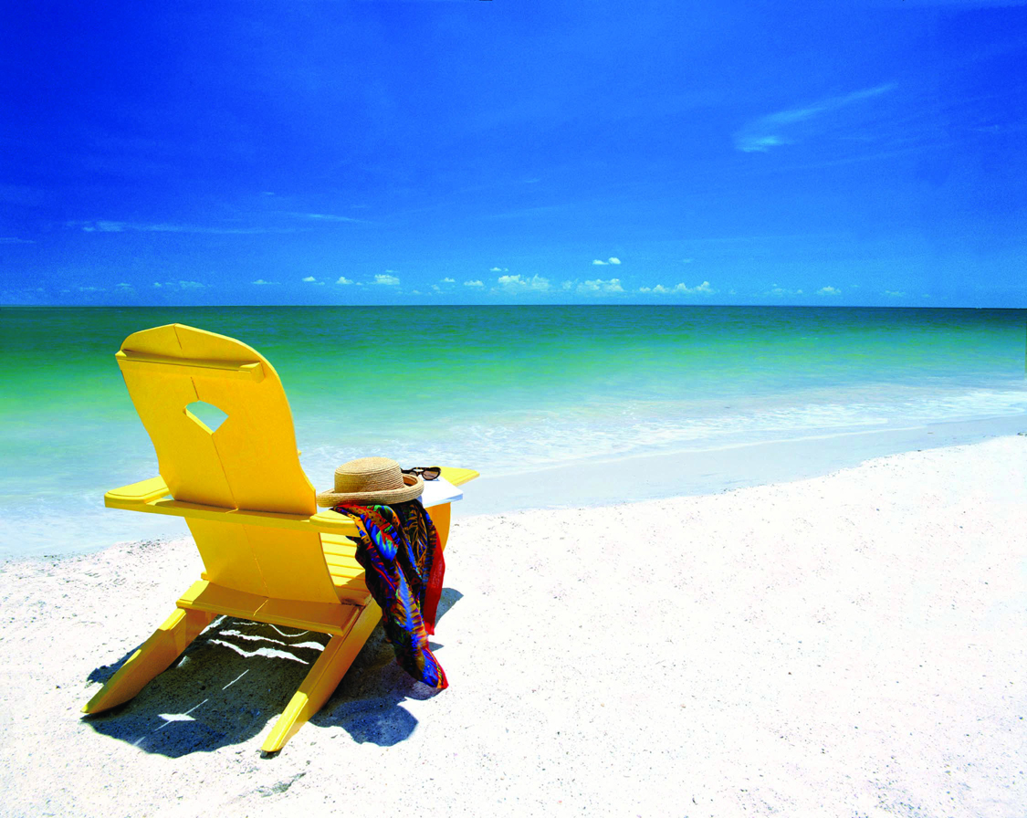 Adironack chair on a Florida beach