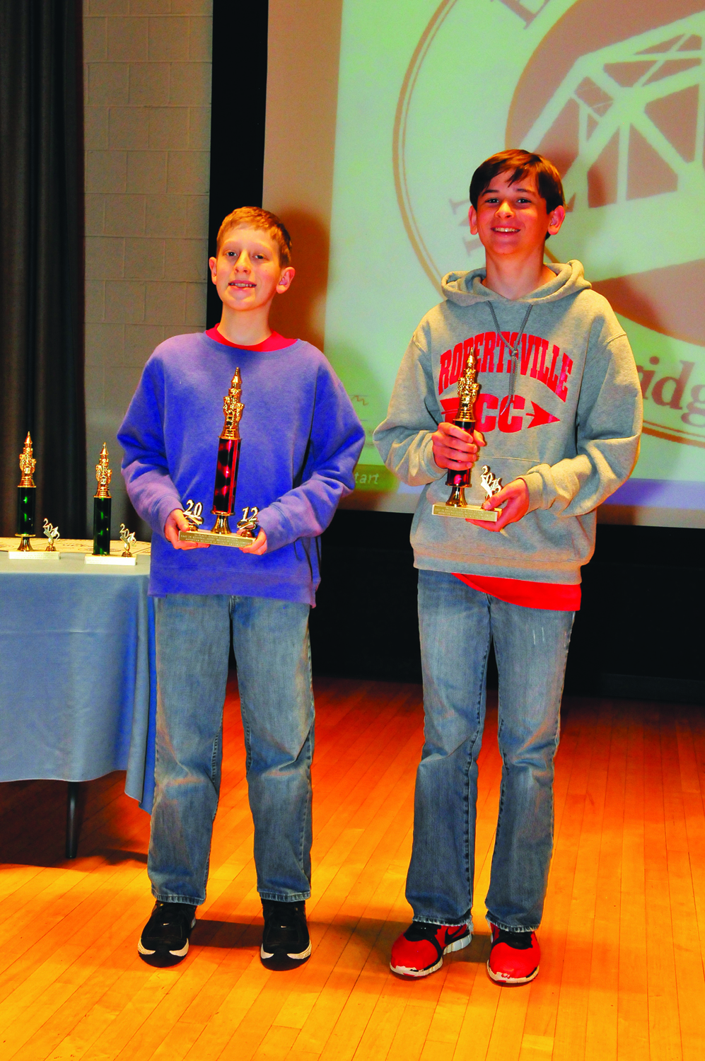 East Tennessee Model Bridge Building Contest winners in the Junior High Division (grades 7 - 9). Oak Ridgers Noah Hylton, first place, a homeschool student and Thomas Colburn, second place, a Robertsville Middle School student (l-r).