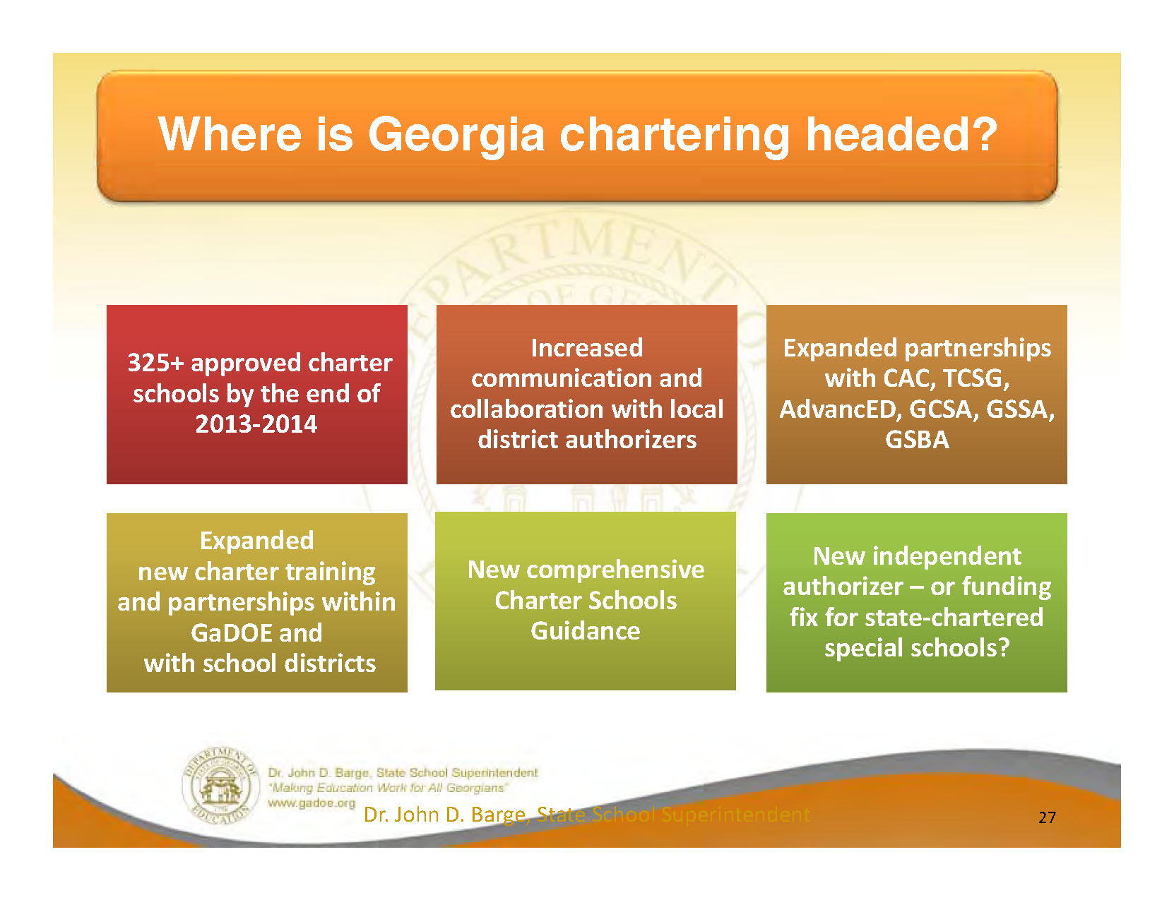 There is much positive momentum in the charter school movement in Georgia -- without amending the Constitution.