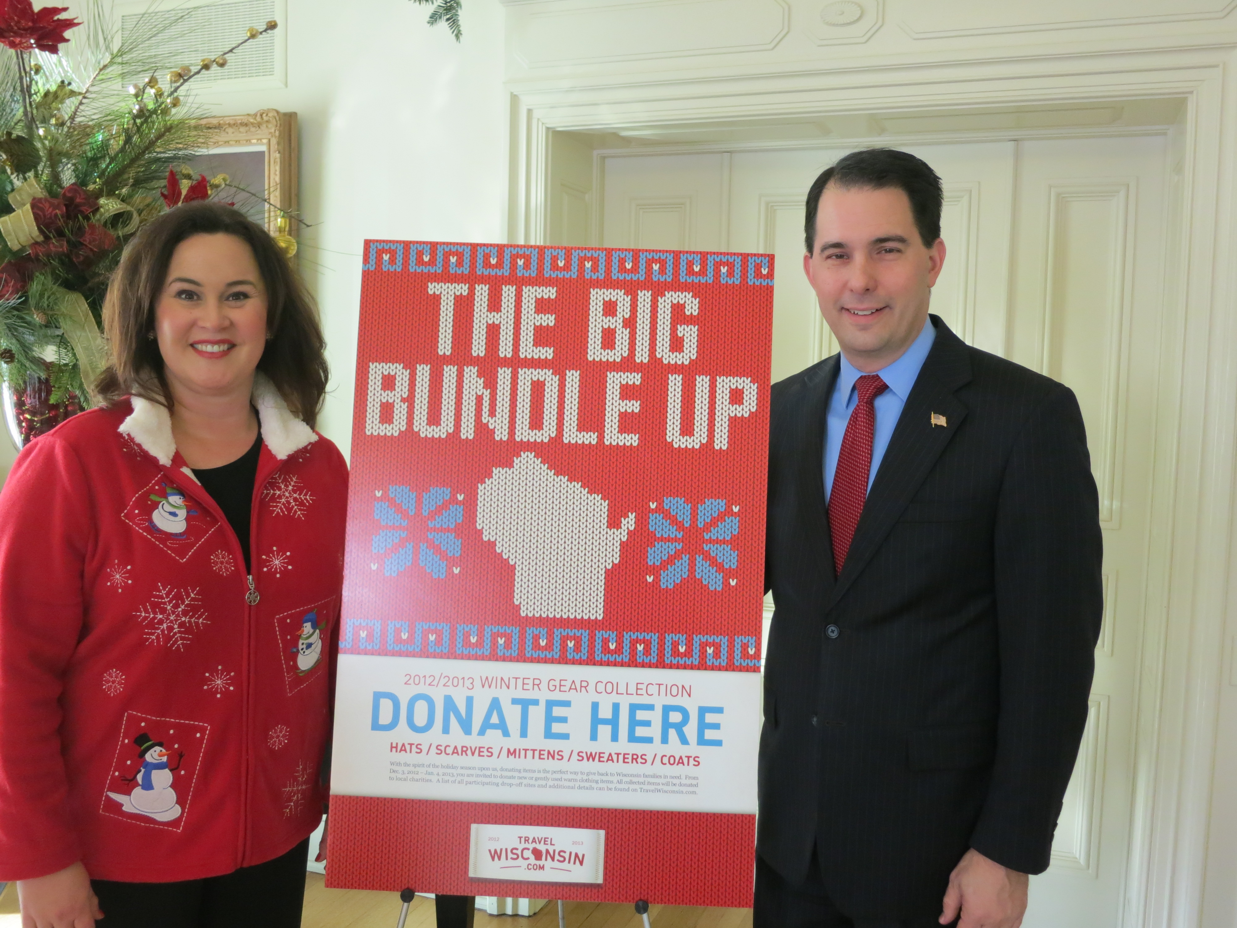 """Wisconsin Tourism Secretary Stephanie Klett and Wisconsin Governor Scott Walker encourage residents and visitors to donate warm clothing items to """"The Big Bundle Up."""""""