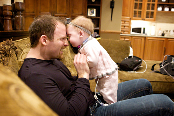 Chicago Cubs' Pitcher Ryan Dempster with daughter Riley, who has been diagnosed with 22q