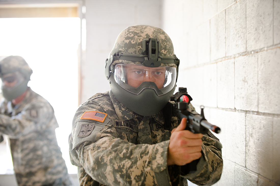 U.S. soldiers don Revision's Batlskin Head Protection System as part of the 2011 Spiral G exercises which took place at the Maneuver Center of Excellence in Ft. Benning, GA.