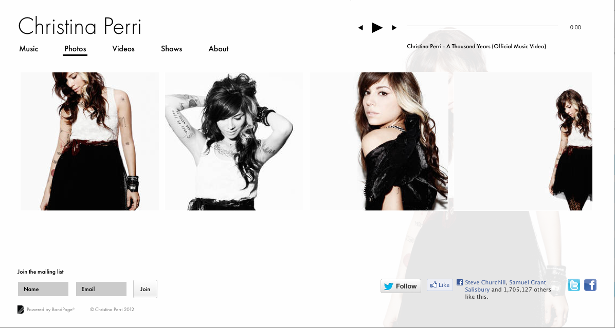 Christina Perri - Website Extension