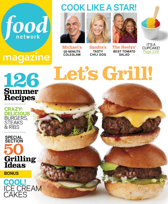 Cover of June 2012 Food Network Magazine containing Nellymoser's new Scan to Pinterest capability for QR codes and Digimarc digital watermarks.  The campaign that works with iphone and android mobile phones launches a mobile sweepstakes in Food Network Magazine's Summer Social Calendar Sweepstakes.