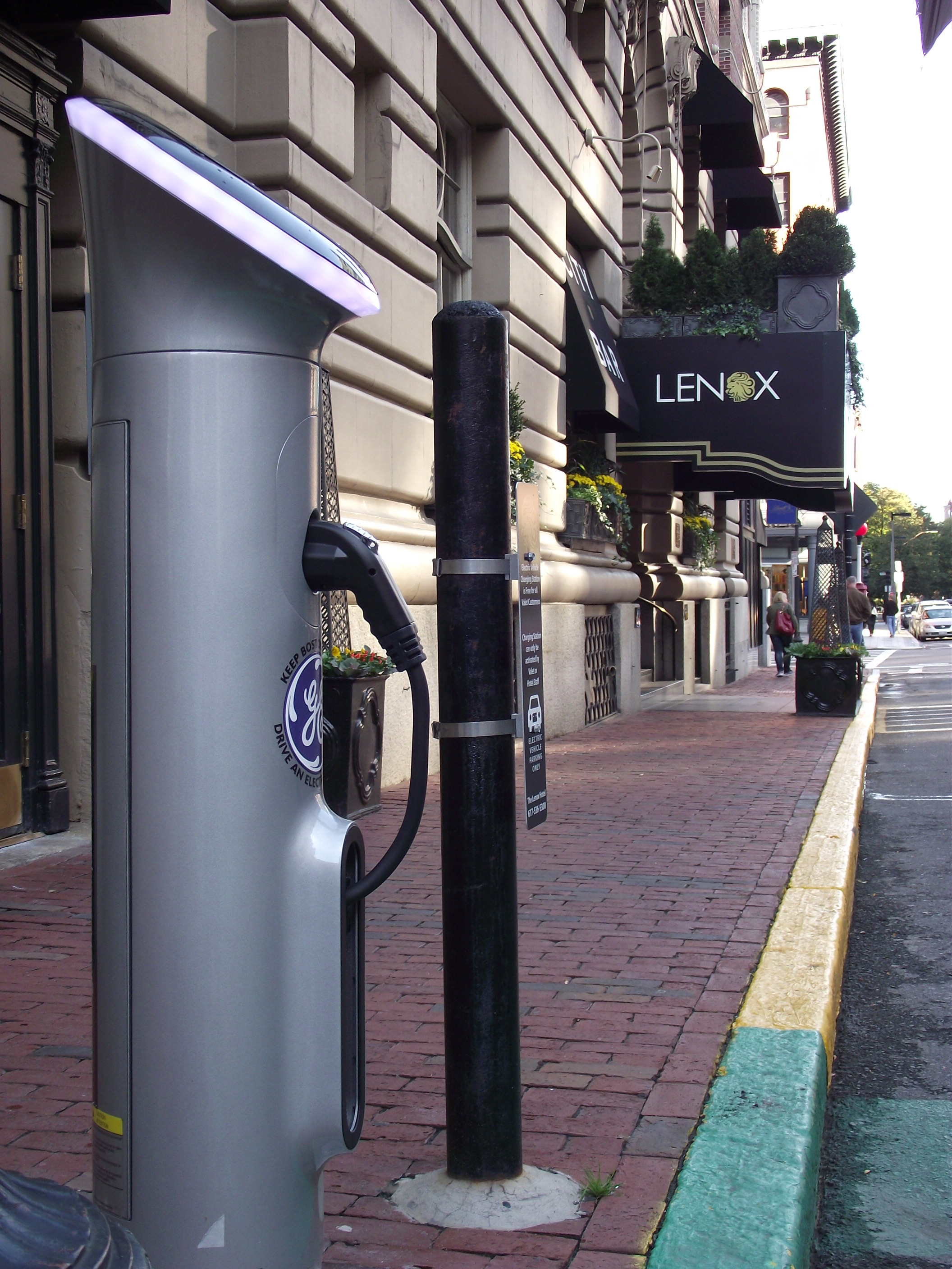 Lenox Hotel's new GE WattStation for Electric Vehicle charging
