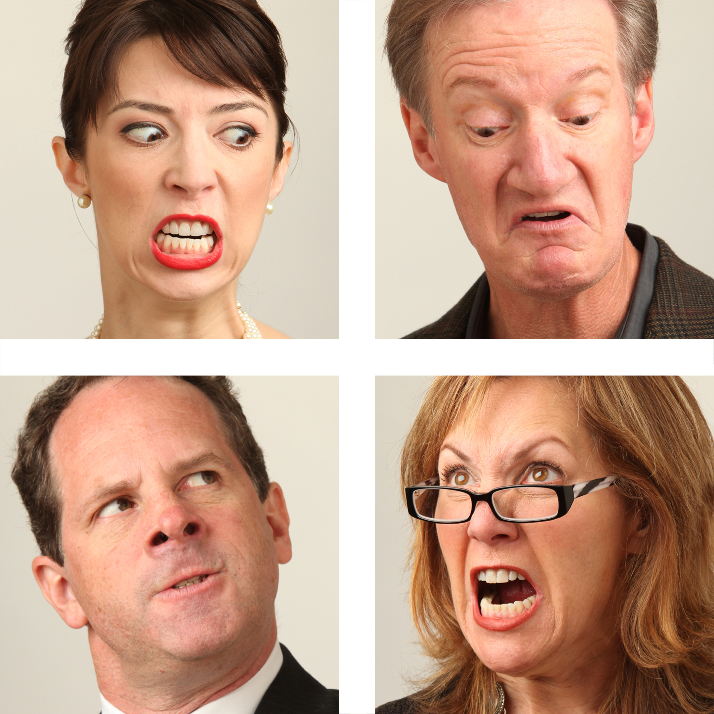Publicity Photo 2: (clockwise from top left) Joey Parsons, Bob Sorenson, Amy Resnick, and Benjamin Evett in San Jose Rep's co-production of God of Carnage. 
