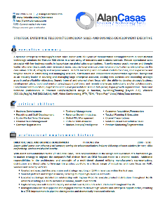 Resume of Alan Casas, designed by Emprove Performance Group