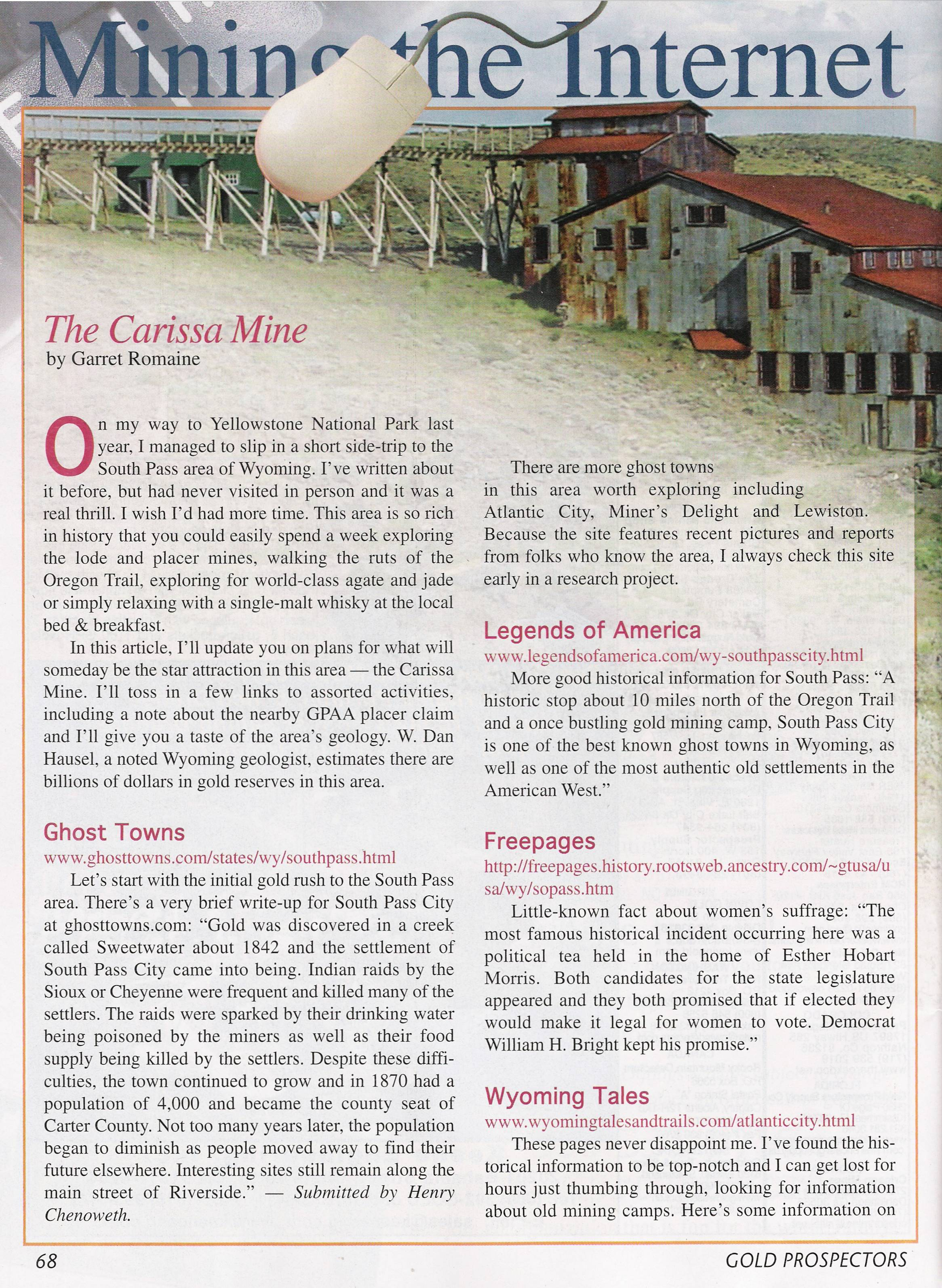 Gold Prospector Magazine Features South Pass City and the Carissa Mine, WY.