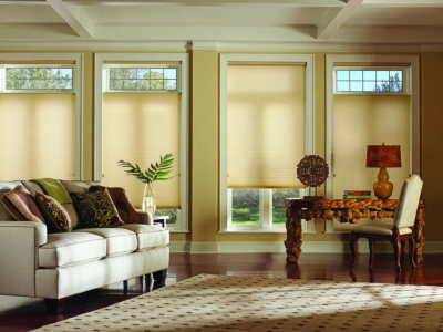 Highly energy-efficient Duetter Architellar honeycomb shades from Hunter Douglas in a sustainable Batiste Bamboo fabric that is now available in an opaque fabric option. 