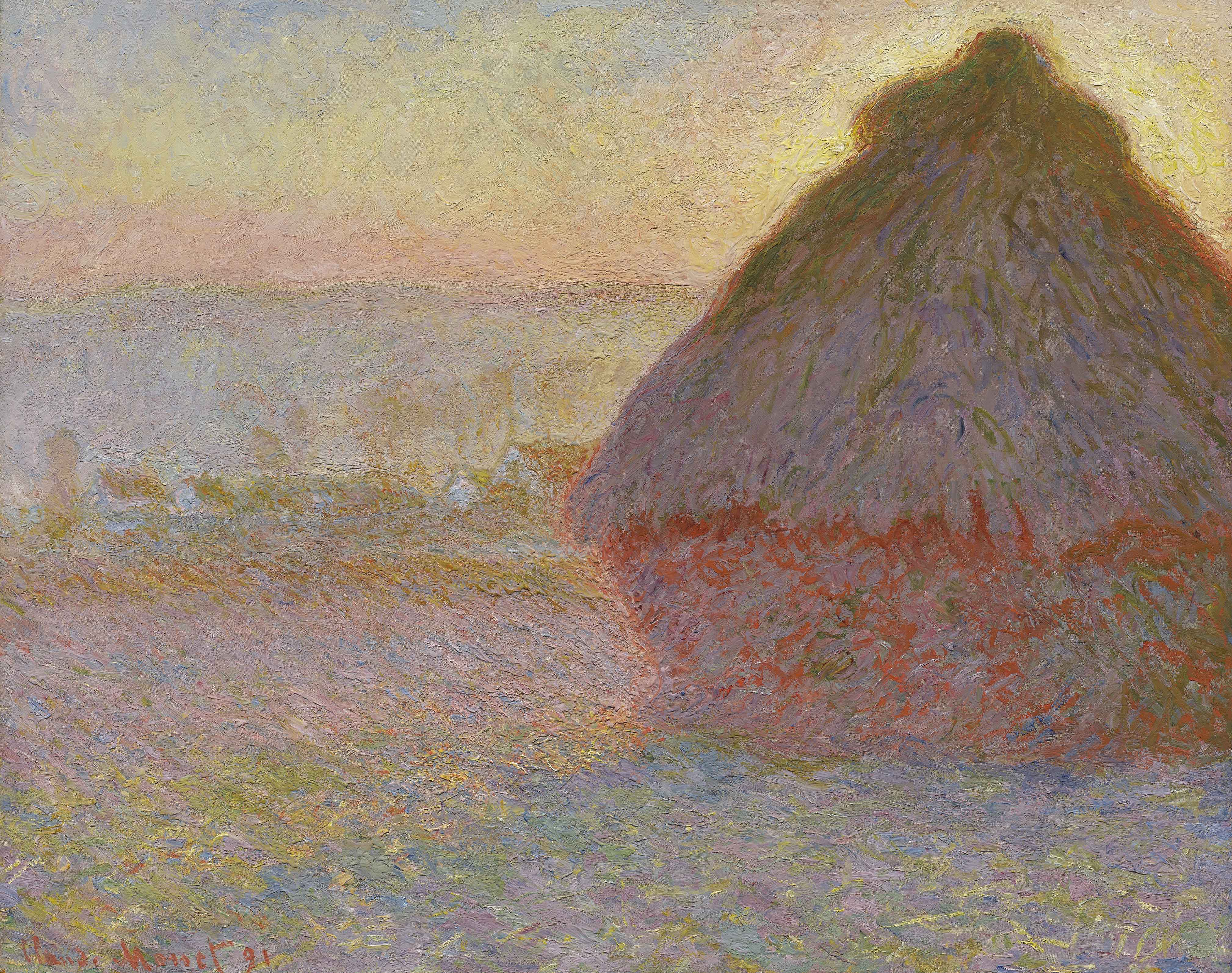 Claude Monet, Grainstack (Sunset), 1891, Oil on canvas, 28 7/8 x 36 1/2 inches,