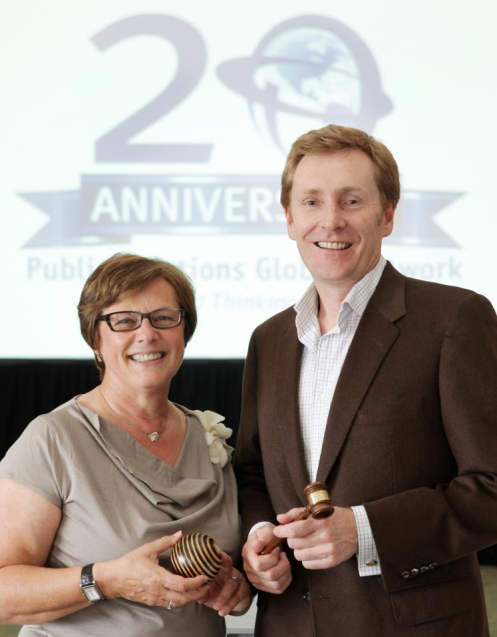 Past President Francine Robbens instates Mark Paterson as the 2012 PRGN President at the organization's 20th anniversary meeting in South Africa.
