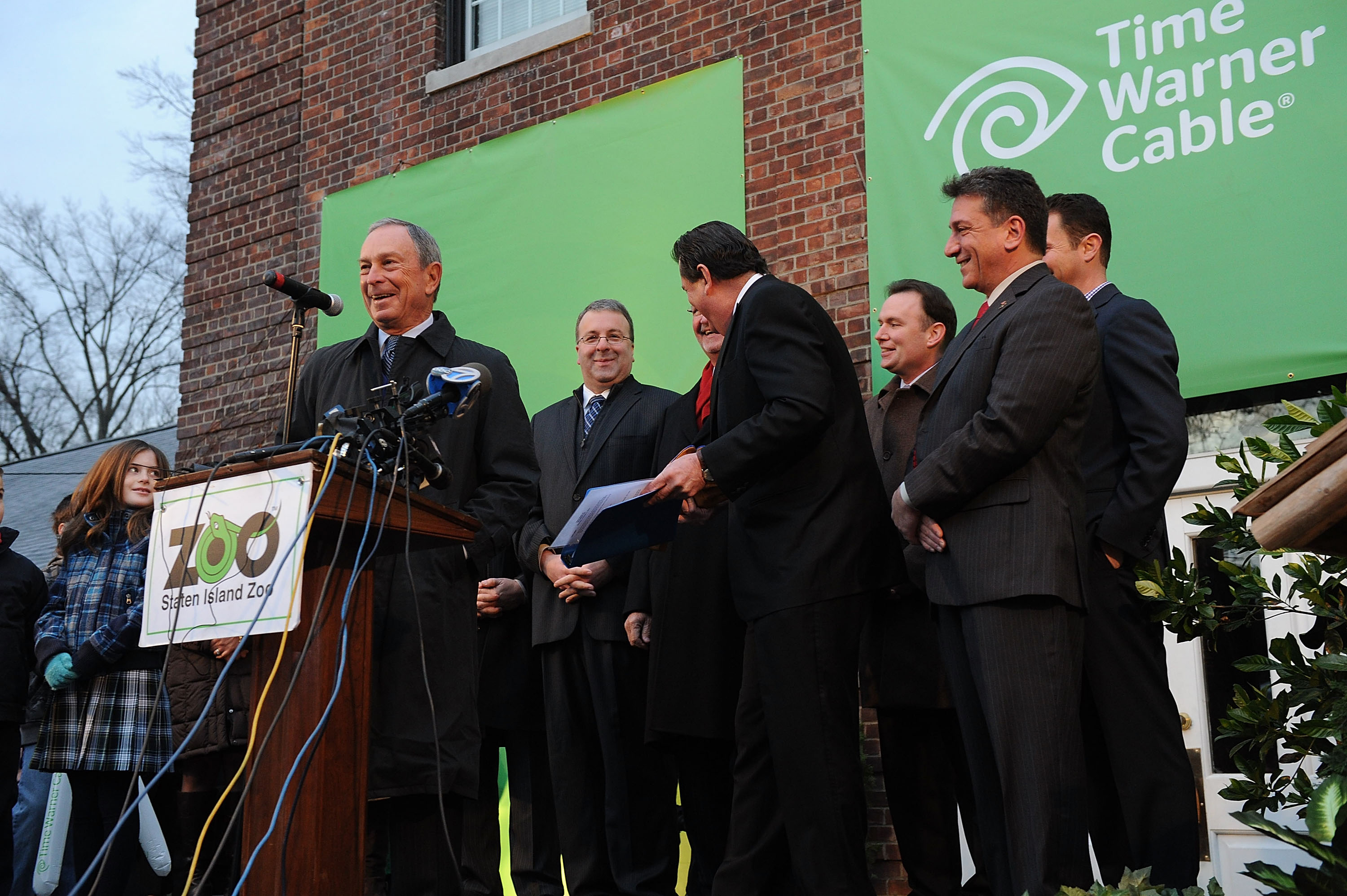 Mayor Michael Bloomberg joined the festivities at the Groundhog's Day Ceremony, sponsored by Time Warner Cable, at the Staten Island Zoo where Staten Island Chuck predicted an early spring. Photo credit: Shahar Azran Photography