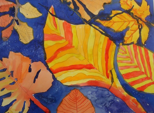 Study of Leaves, by Ashley Knowles, Transition Class, St. Francis High School, transparent watercolor on paper