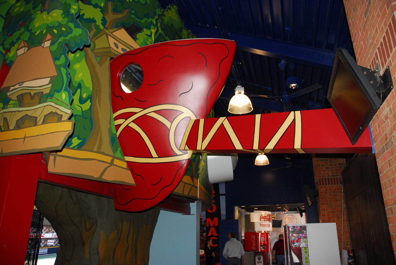 The attraction's focal point is the Tree House, where kids can climb and play with a giant Tomahawk and slide down the Taco Mac buffalo slide. Photo Courtesy: MELT Atlanta