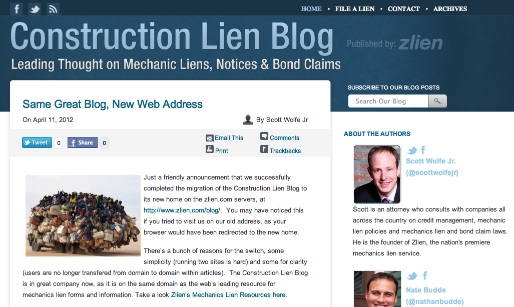 Screenshot of the web's leading Mechanics Lien blog, the Construction Lien Blog, published by Zlien.