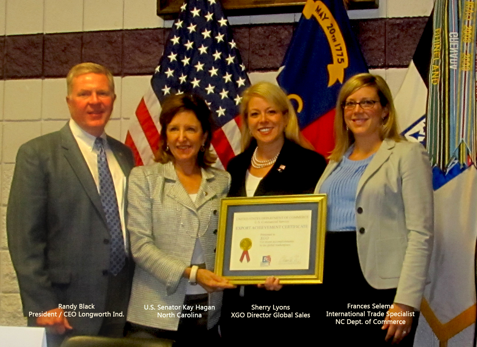 From left to right: Randy Black, U.S. Senator Kay Hagan, Sherry Lyons, Frances Selema