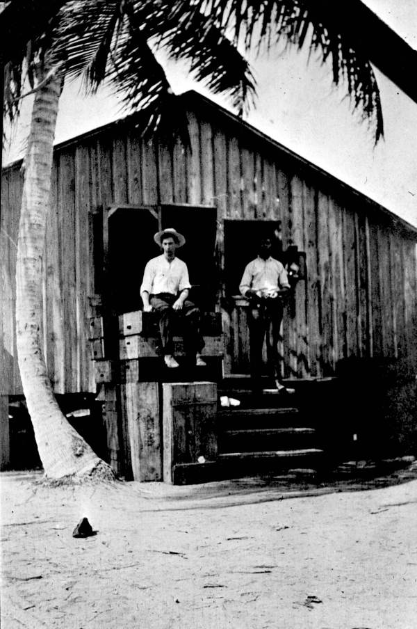 Construction crewmen at a camp in Long Key, 1907