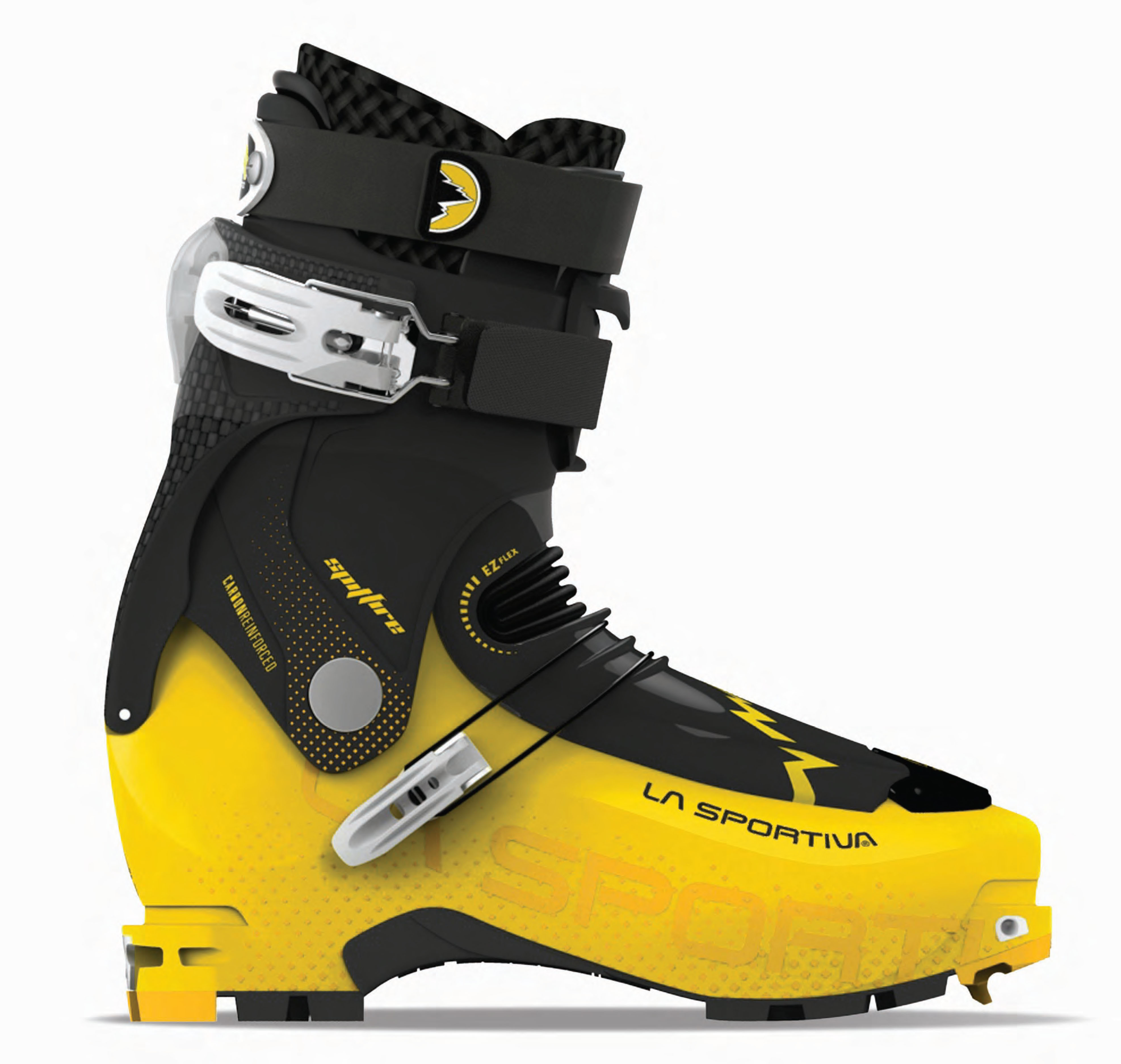 The Spitfire is a powerhouse 120-Flex boot that represents a crossover between the lightweight demands of randonee racing and the performance requirements of freeride touring. Featuring a Grilamidr shell and a unique Vertebra TechnologyT, the Spitfire utilizes a Carbon Reinforced Polymer cuff to improve stiffness and downhill performance.