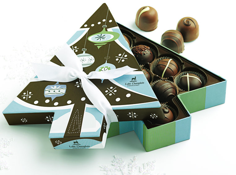 Filled with 11 irresistible truffles, Lake Champlain Chocolates' Spruce Tree Truffles is a popular gift for businesses.