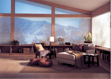 Silhouetter window shadings from Hunter Douglas combine beautiful fabric sheers with precise light control and UV-protection for a soft and elegant look.