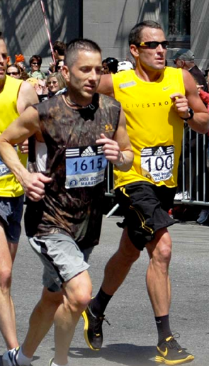Cameron Hanes side-by-side with Lance in Boston Marathon