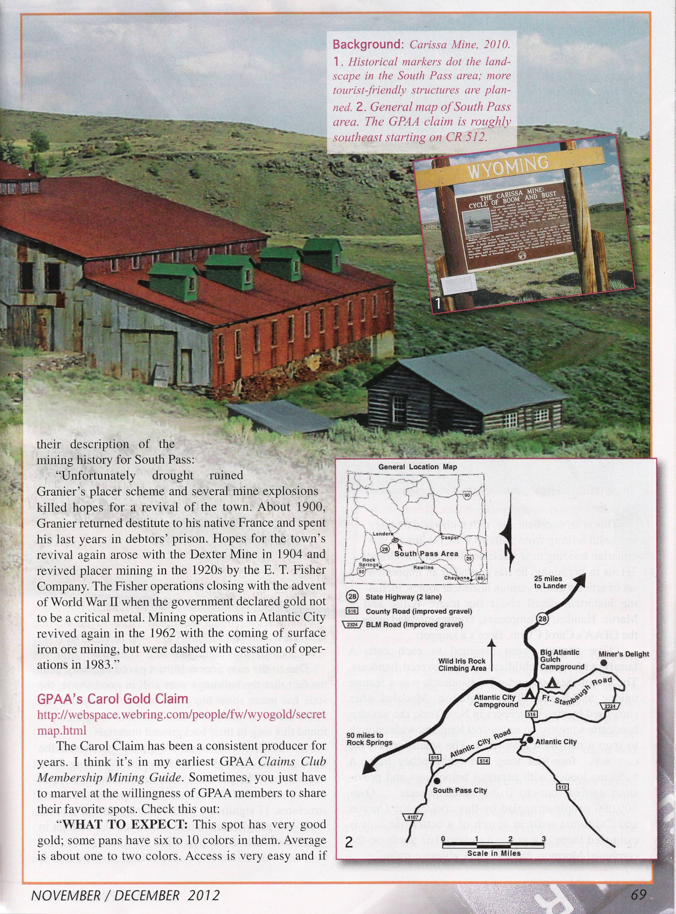 Explore the Carissa Mine through the Nov./Dec. 2011 issue of Gold Prospectors.