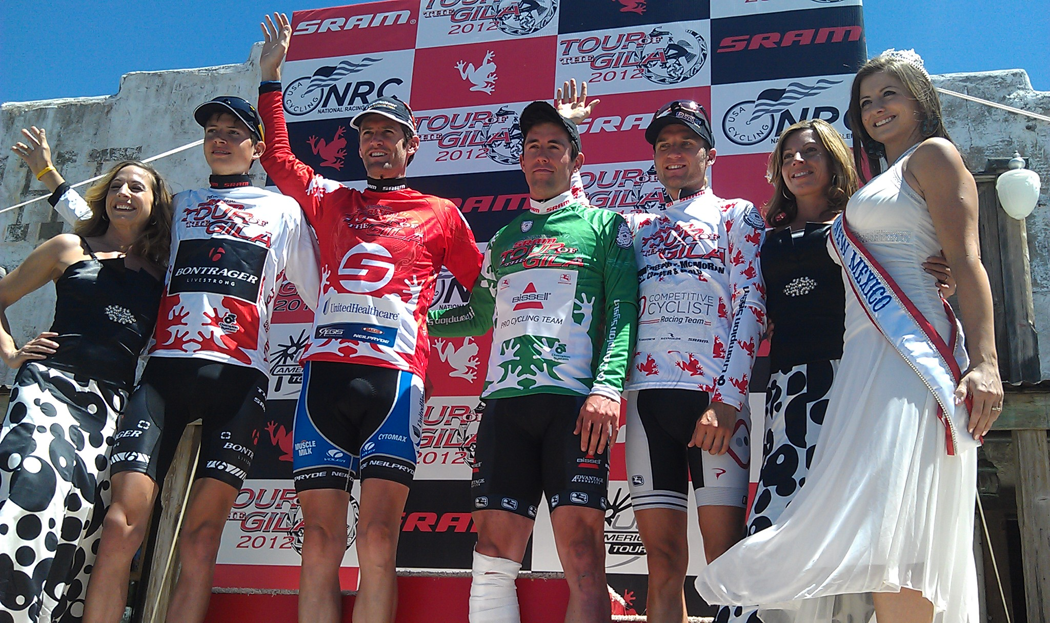 Chad Beyer on the podium at the SRAM Tour of the Gila. Photo Credit: On the Rivet Management