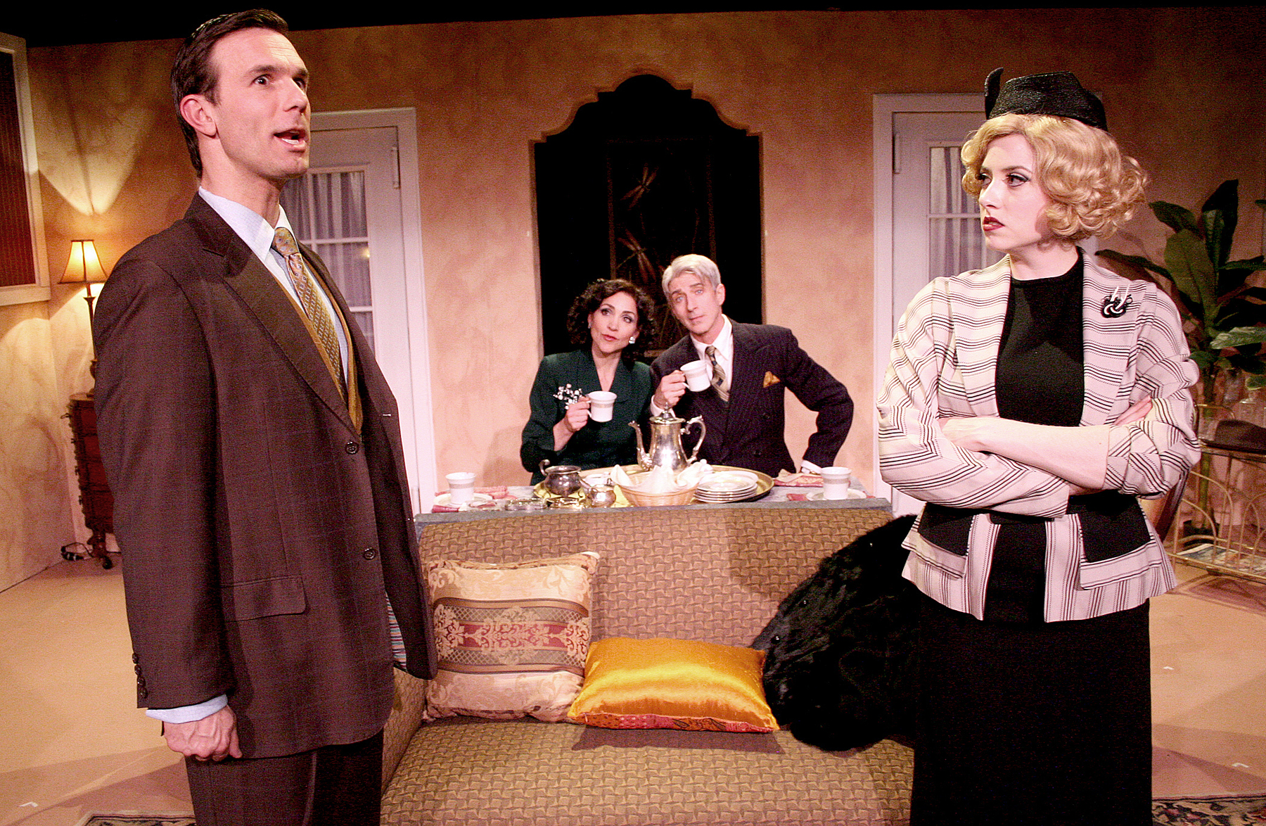 L to R: Jeff Witzke, Stasha Surdyke, Lenny Von Dohlen, and Annie Abrams in PRIVATE LIVES. 