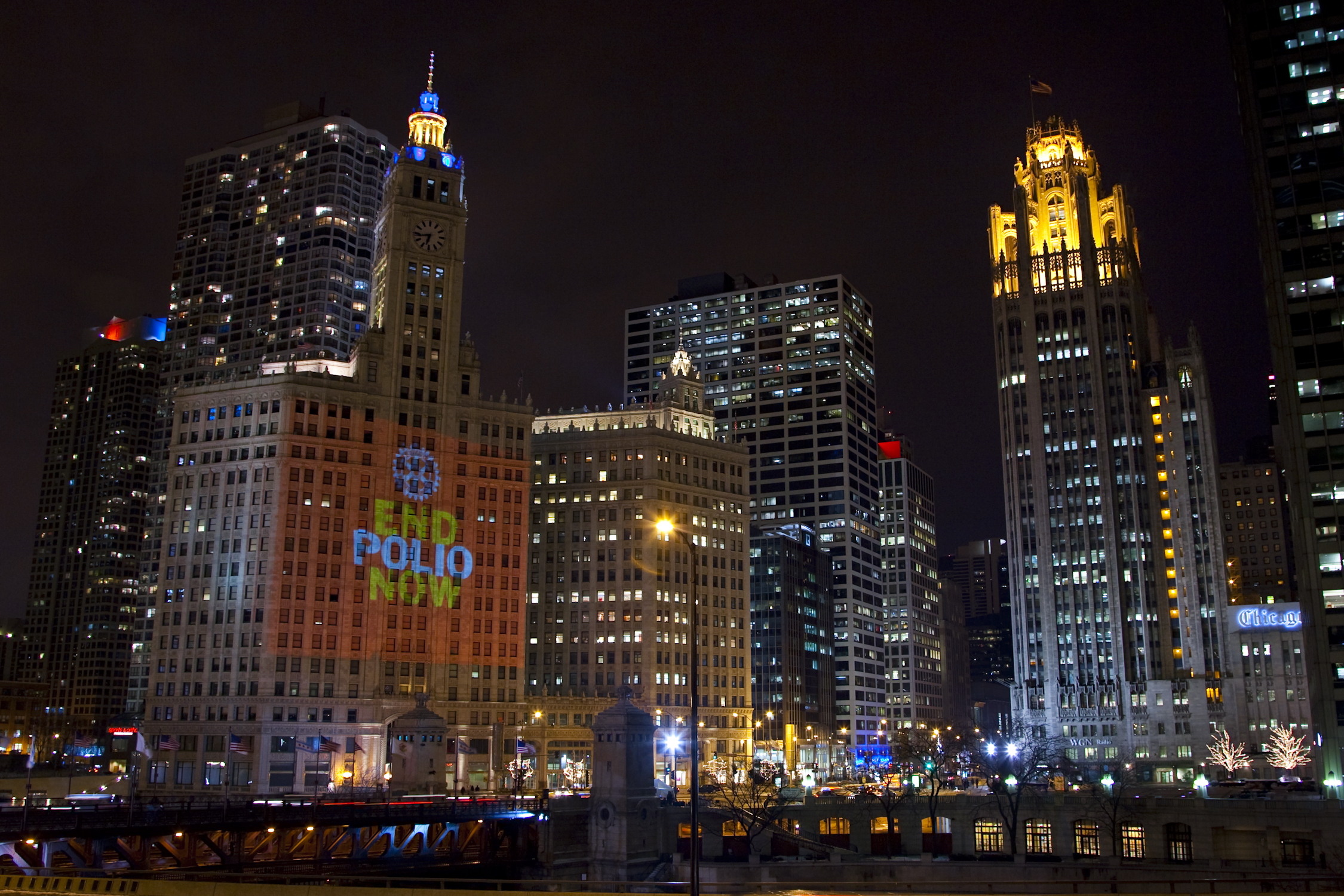 The Wrigley Building in Chicago was illuminated in 2010.