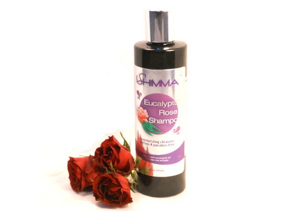 Ishimma Eucalyptus Rose Shampoo - a sulfate-free moisturizing cleanser, infused with rosehip seed oil, eucalyptus essential oil, and natural extracts.