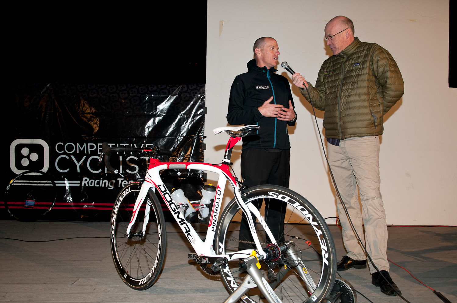 Official Team presentation Announcer Dave Towle and directeur sportif Gord Fraser.