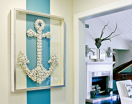 KRC Seashell Anchor hangs over an Aqua colored stripe wallcovering