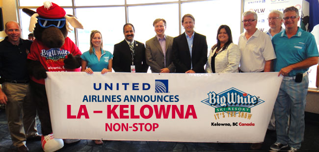Big White's Loose Moose along with Director of Sales; Jim Loyd, and Guest Services Manager; Emily Oxley are pictured with Kelowna's Mayor; Walter Gray, United Airlines representative; Julie Gordon and other Kelowna dignitaries as the announcement of the new non-stop flight was made.