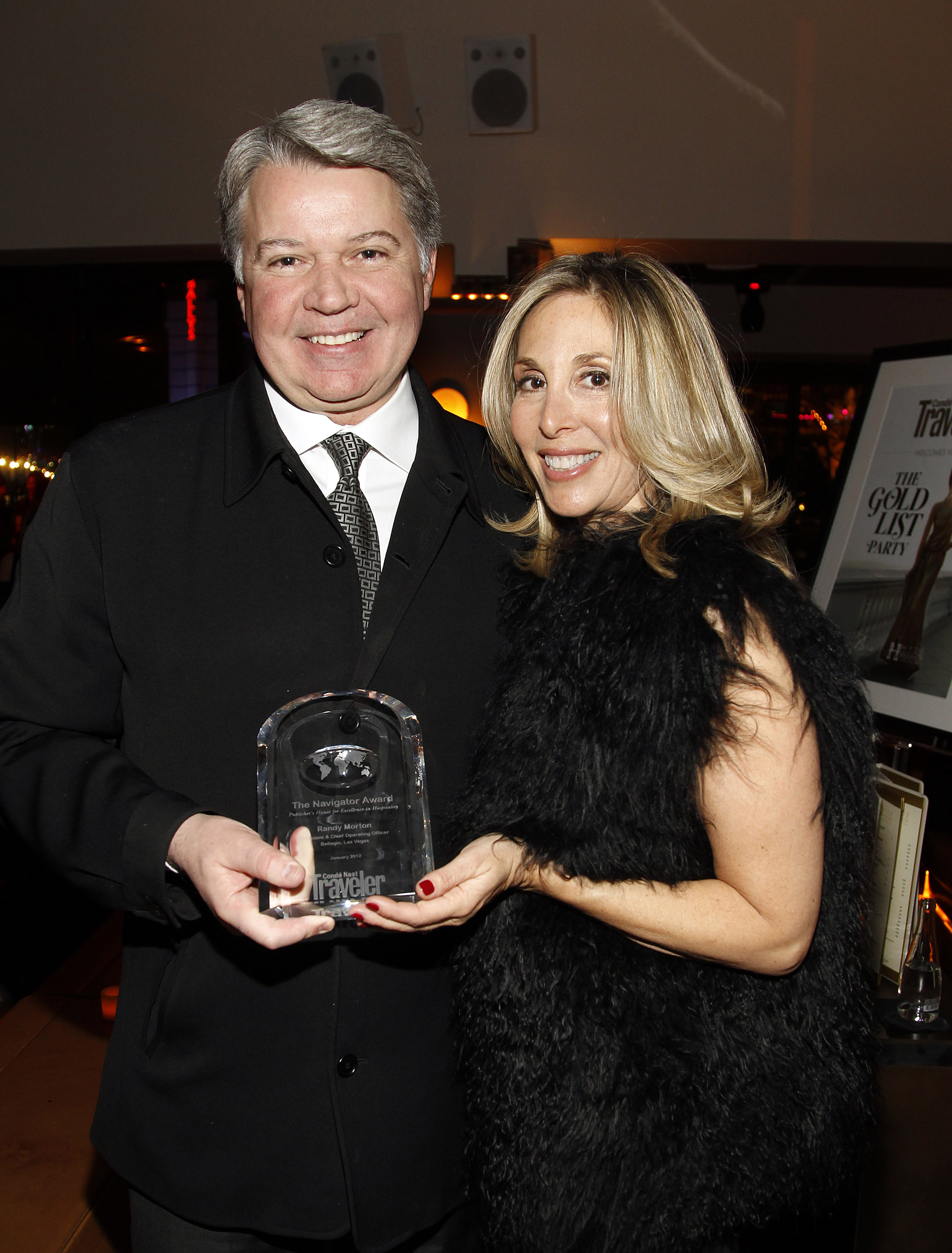 Bellagio President & COO Randy Morton accepts Navigator Award from Conde Nast Traveler Vice President and Publisher Carolyn Kremins on January 21, 2012.